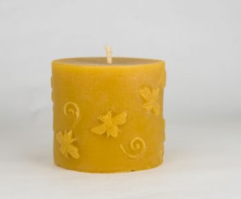 Beeswax Honey Bee Pillar Candle