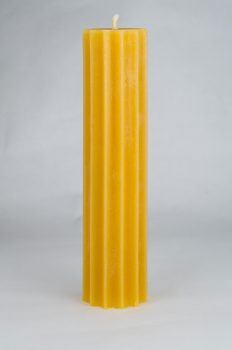 Beeswax Scalloped Pillar Candle