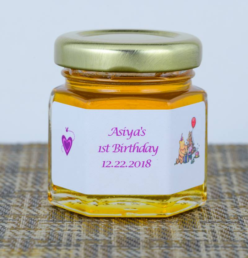2oz. Honey Favor 1st Birthday personalized label