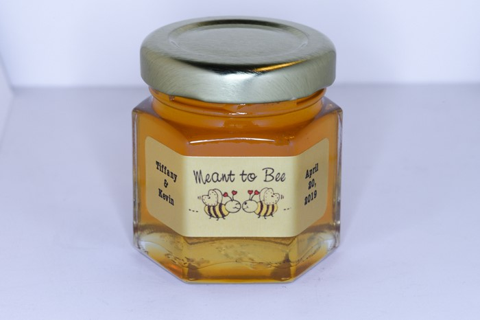 2oz. Honey Favor  with Meant to Bee gold foil personalized label