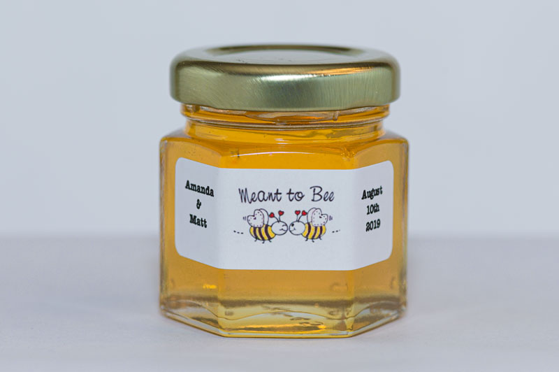 2oz. Honey Favor Meant to Bee Matte White personalized label