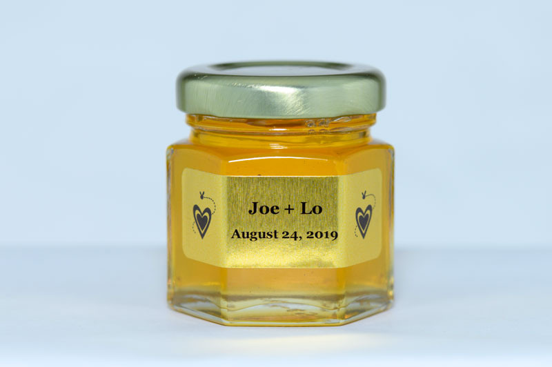 2oz. Honey Favor with Gold Foil personalized label