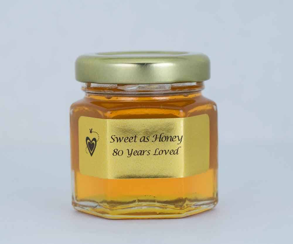 Sweet as Honey label on a 2oz. Honey Favor